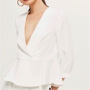 Topshop White Peplum Crossover Blazer/Jacket